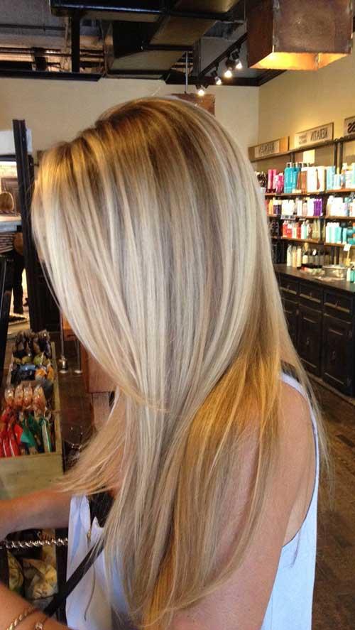 imagem de cabelo liso escovado com luzes loiras