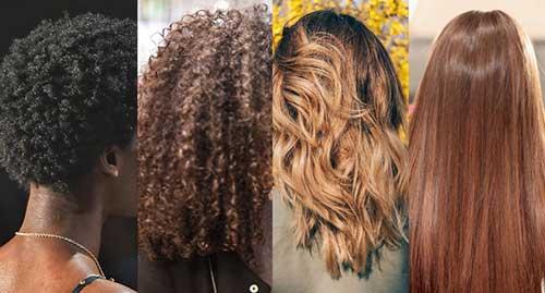 foto com os tipos de cabelo liso, ondulado, cacheado e crespo
