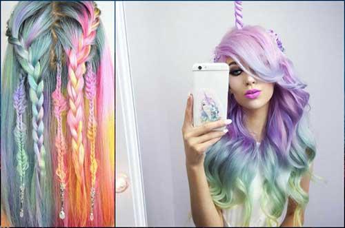 foto de cabelo unicornio colorido