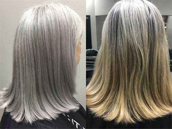 depois e antes em cabelo loiro