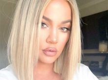retrato da khloe kardashian com blunt bob loiro
