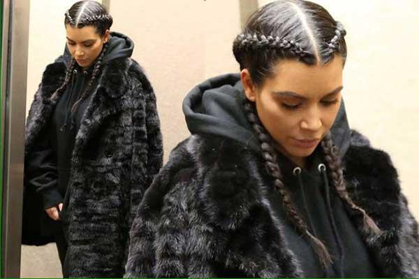 Kim Kardashian com boxer braid