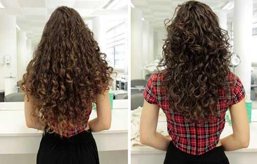 foto de antes e depois de fazer fitagem e usar mousse no cabelo