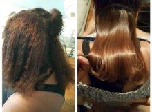 resultado antes e depois do botox capilar profissional aplicado no salao