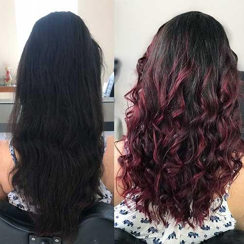 antes e depois de fazer ombré no cabelo preto