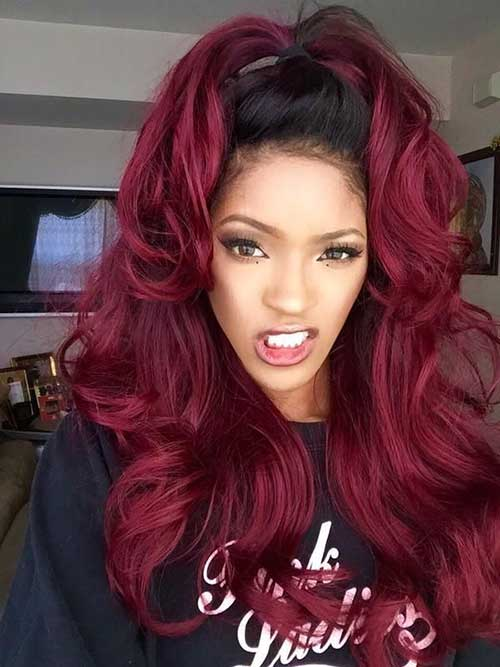 mais puxado para o vermelho em cabelos lisos