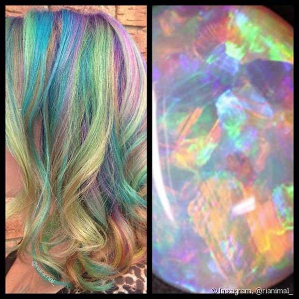 o cabelo opal imita as tonalidades da opala