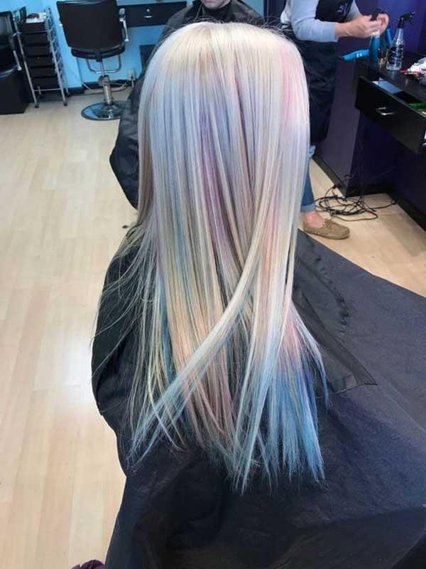 opal realizado no salão de beleza em cabelo com alisamento