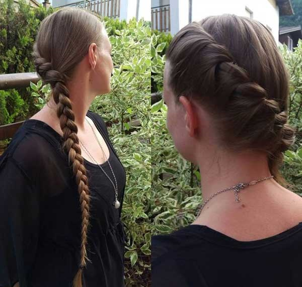 trança corda e embutida, começando na parte de cima do cabelo