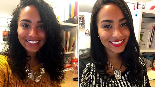antes e depois em cabelos ondulados