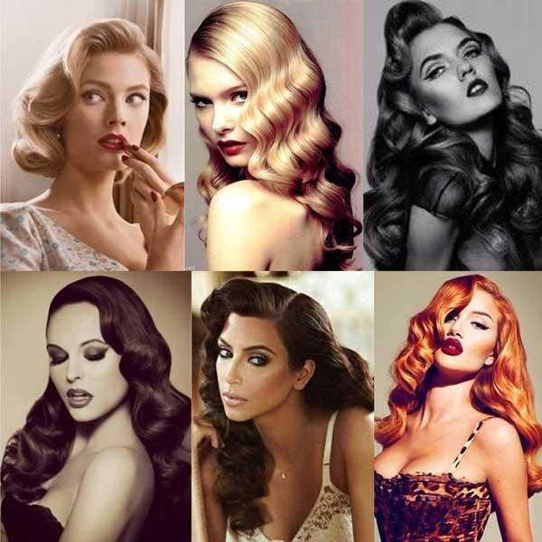 penteados anos 40 enrolados em famosas de cabelo médio e longo